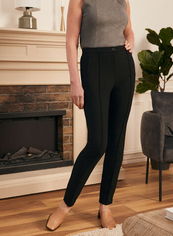 Signature Fit Straight Leg Pants, Black,  pants, signature, straight leg, pleats, stretchy, spring summer 2020