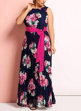 Robe longue plissée à fleurs, Bleu, hi-res