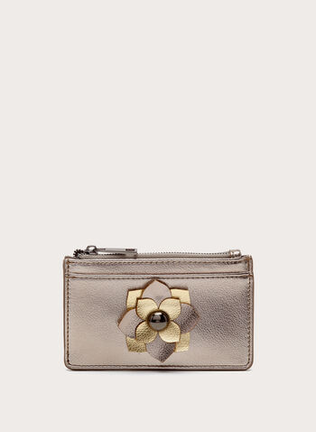 Metallic Flower Detail Zip Purse, Grey, hi-res
