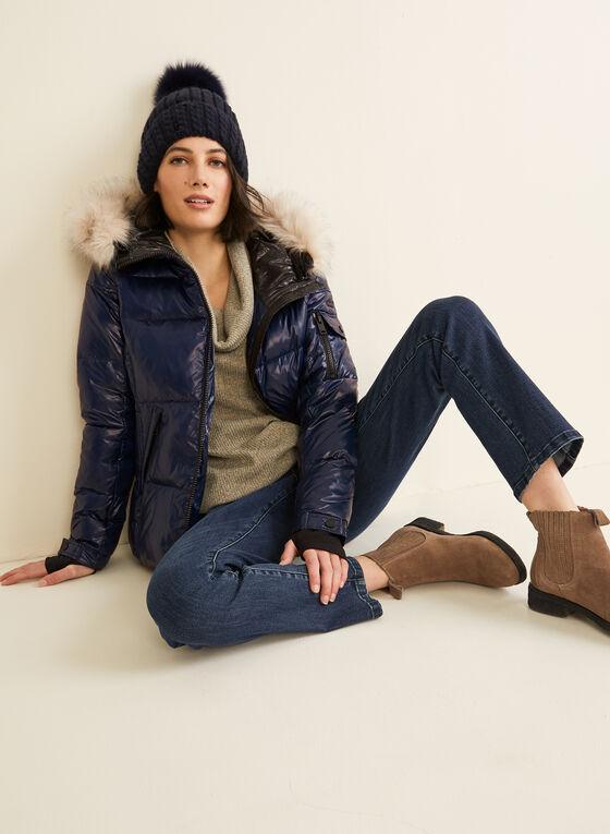 Novelti - Faux Fur Trim Down Coat, Blue