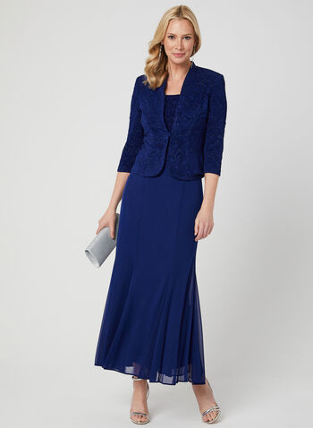Alex Evenings - Glitter Dress & Jacket Set, Blue, hi-res