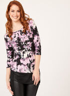 Abstract Floral Print Tunic, Purple, hi-res