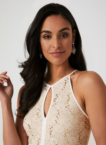 Sequin Lace Dress, Off White,  Spring 2019, evening dress, sequin lace