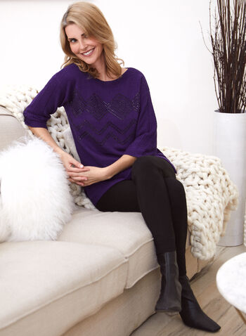 3/4 Sleeves Sweater With Shimmer, Purple,  autumn winter, sweater, top, knitting, ¾ sleeves, 3/4 sleeves, holiday