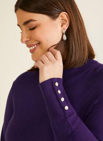 Pull col roulé à détails boutons, Violet,  automne hiver 2020, pull, manches longues, col roulé, boutons, ample, tricot, chandail