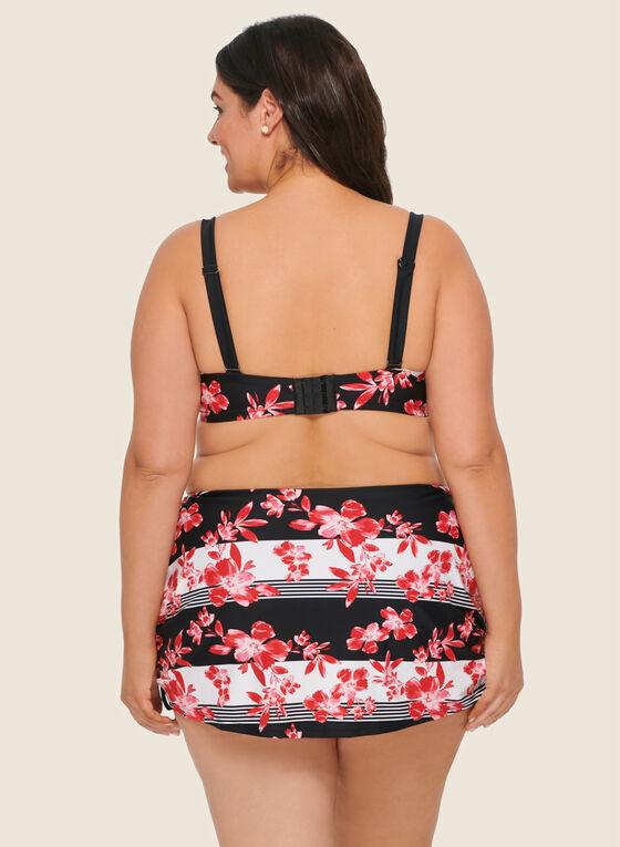 Nass-eau - Floral Bikini Skirt Set, Red