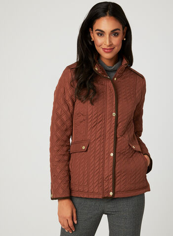Weatherproof - Lightweight Quilted Coat, Orange, hi-res