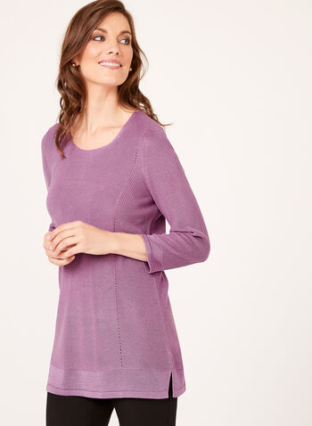 Shaker Stitch Tunic Sweater, Purple, hi-res
