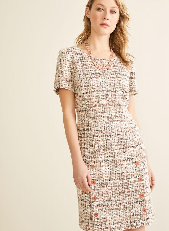 Button Detail Tweed Dress, Brown
