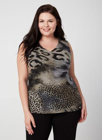 Vex - Animal Print Sleeveless Top, Brown, hi-res,  fall winter 2019, sleeveless, knit, layering top