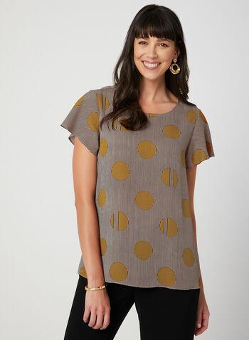 Printed Short Sleeve Top, Brown, hi-res,  fall 2019, winter 2019, crepe, short sleeves, prints