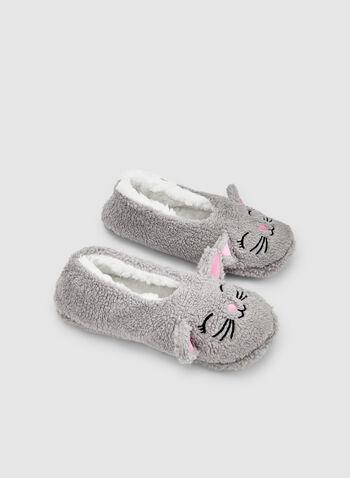 Pantoufles chat en peluche, Gris, hi-res,  automne hiver 2019, pantoufles, chat, peluche, pyjama