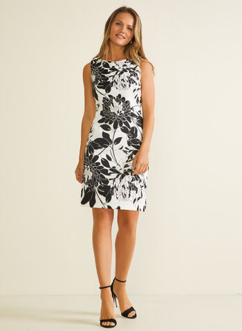 Floral Print Sheath Dress, Black,  day dress, sheath, floral, scoop neck, sleeveless, spring summer 2020