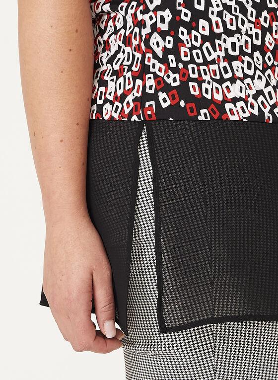 Haut à motif géométrique avec ourlet en mousseline, Noir, hi-res