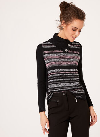 Striped Rib-Knit Sweater, Black, hi-res