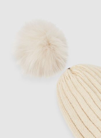 Fur Pompom Knit Tuque , Brown,
