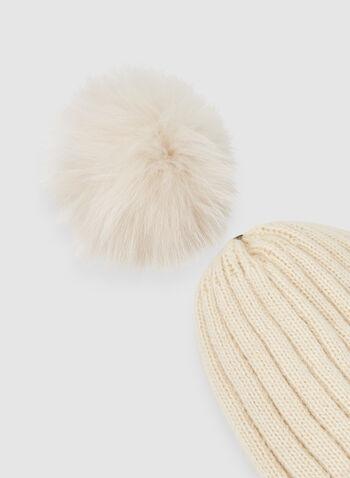Bonnet texturé à pompon, Brun,  tricot léger, fausse fourrure, pompon amovible, automne hiver 2019