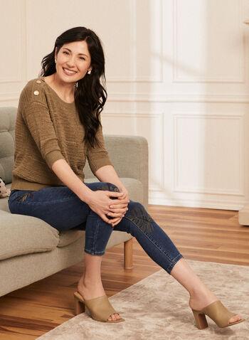Jeans étroit à broderies florales, Bleu,  jeans, étroit, 5 poches, broderies, denim, automne hiver 2020