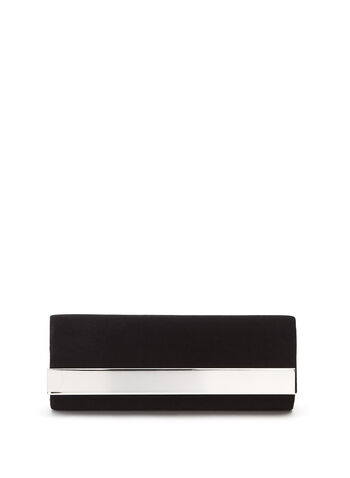 Metallic Trim Velvet Clutch , , hi-res