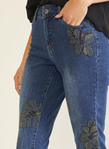 Slim Fit Jeans With Floral Detail, Blue,  jeans, slim, 5 pockets, embroidery, denim, fall winter 2020