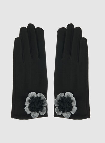 Floral Detailed Gloves, Black,  floral, flower, floral print, floral gloves, gloves, winter 2019, fall 2019