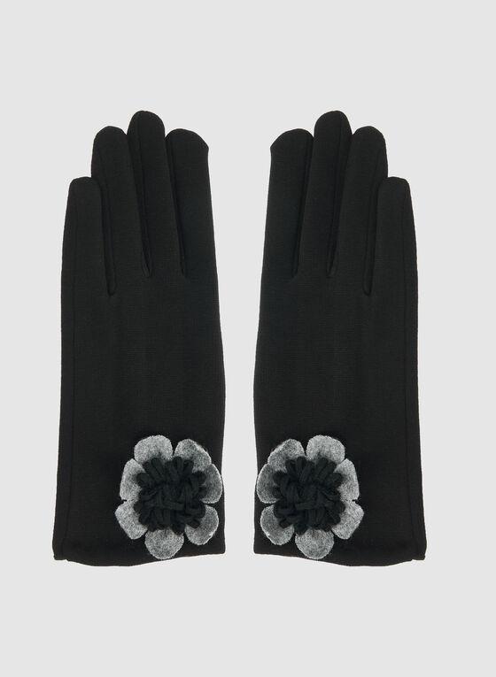 Gants à détail fleur, Noir