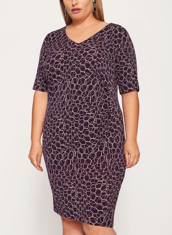 Side Tuck Jersey Dress, Purple, hi-res