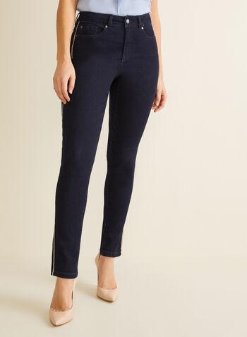Jeans à jambe étroite et détails satinés, Bleu,  jeans, jambe étroite, satin, liseré, poches, taille haute, printemps été 2020