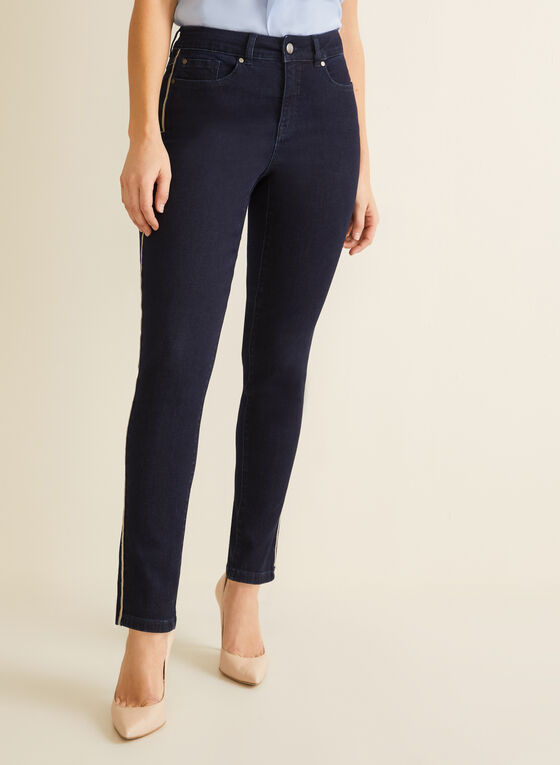 Piping Detail Slim Leg Jeans, Blue