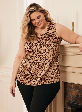 Blouse à motif léopard, Brun,  top, haut, blouse, sans manches, motif léopard, imprimé léopard, encolure en V, col en V, ourlets, printemps été 2021