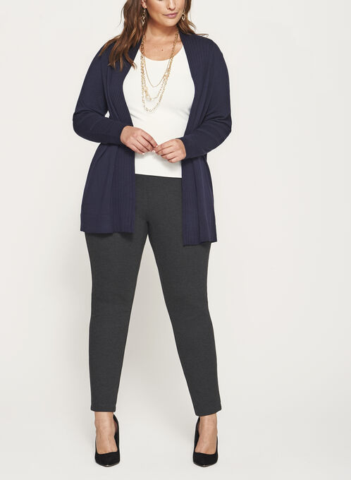 Pleated Collar Open Front Cardigan, Blue, hi-res