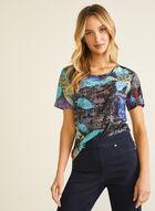 Leaf Print T-shirt, Blue