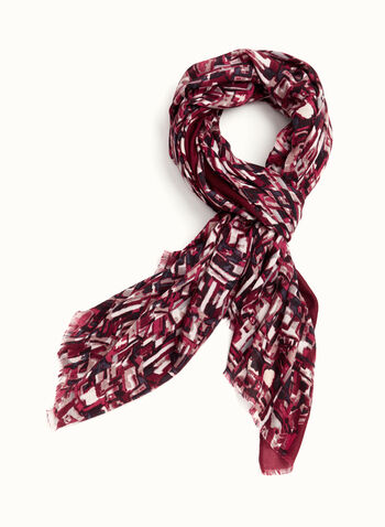 Foulard à franges et motif abstrait, Rouge, hi-res