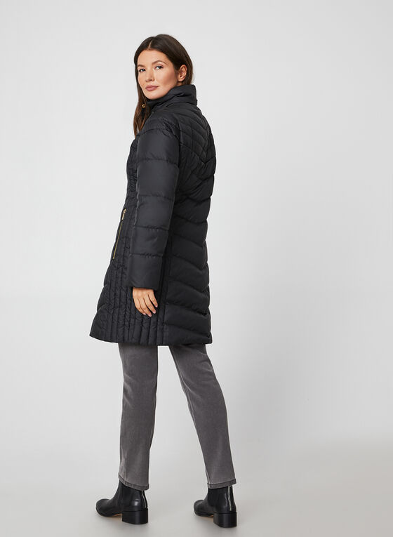 Anne Klein - Removable Hood Quilted Coat, Black