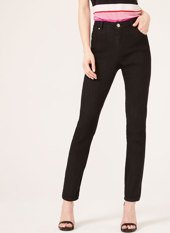 Simon Chang - Tummy Control Straight Leg Jeans, Black, hi-res