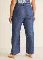 Belted Wide Leg Tencel Pants, Blue