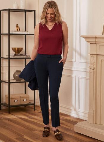 Louben - Pantalon à jambe droite, Bleu,  Fait au Canada, printemps été 2021, pantalon, moderne, louben, droit, jambe droite, ajusté, tailleur, poches
