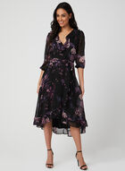 Floral Print Faux Wrap Dress, Black, hi-res