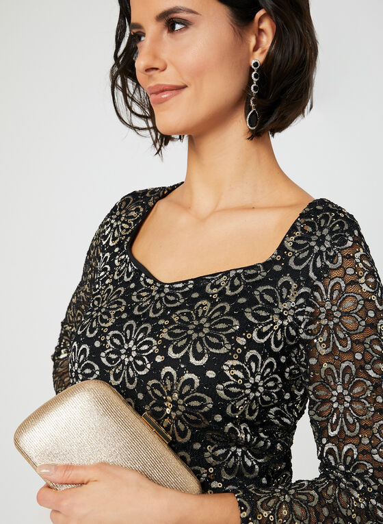 Sequin Lace Top, Black, hi-res