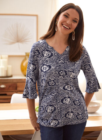 Floral Print Flare Sleeve Top, Blue,  spring summer 2021, top, blouse, split neck, V neck, 3/4 sleeve, flare sleeve, bell sleeve, floral print, abstract print
