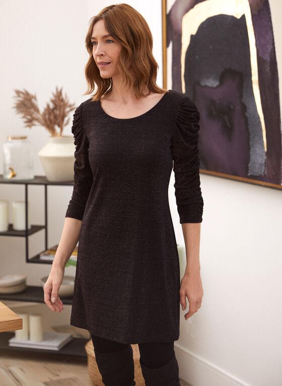 Glitter Knit Cocktail Dress, Beige