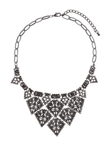 Layered Crystal Bib Necklace, , hi-res