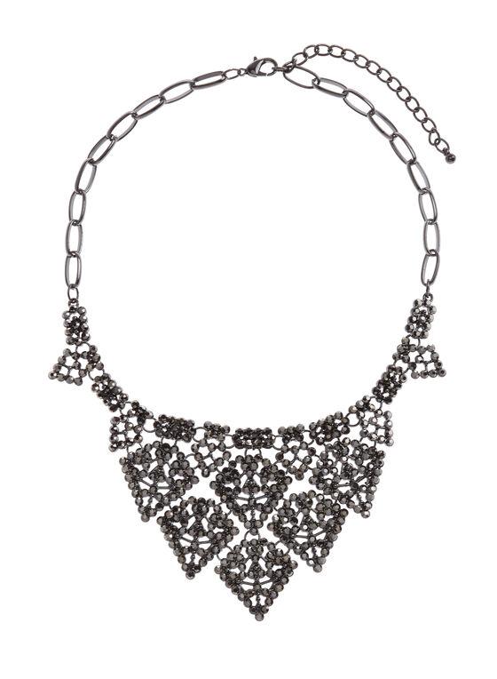 Layered Crystal Bib Necklace, Grey, hi-res