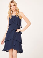 Beaded Neck Tiered Chiffon Dress, Blue, hi-res