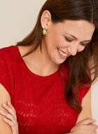 Fine Open Knit Top, Red