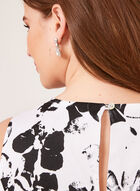 Robe florale ajustée et évasée à effet bouffant, Blanc, hi-res