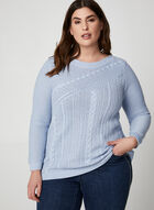 Metallic Cable Front Sweater, Blue