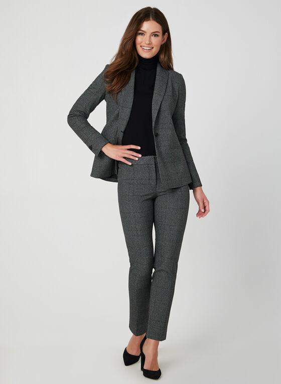 Pantalon coupe moderne motif Prince-de-Galles, Noir