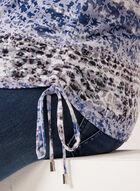 Haut motif léopard à manches ¾, Bleu, hi-res