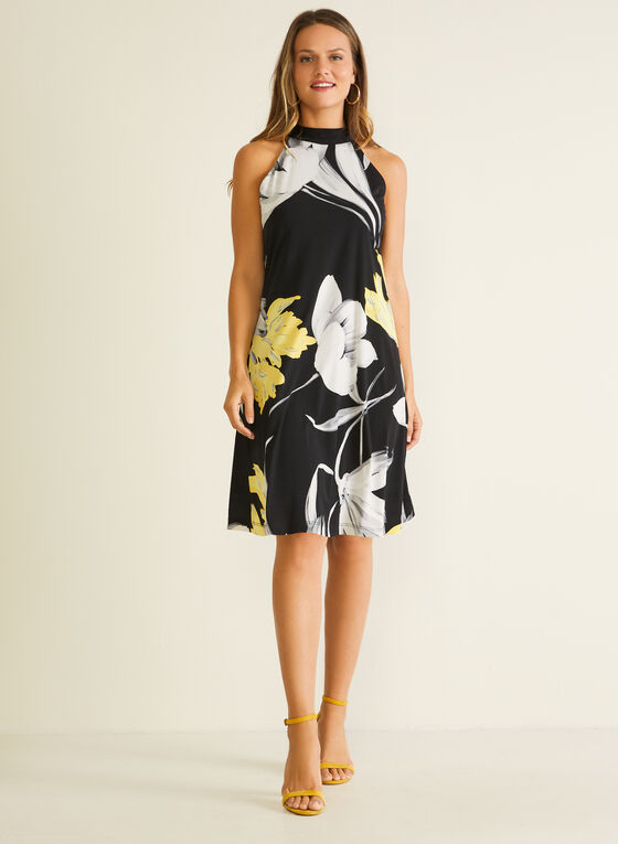 Floral Print Halter Neck Dress, Black